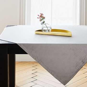 Luster Velvet Table Throw, Platinum - West Elm