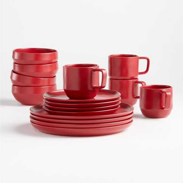 Visto 4-Piece Red Stoneware Place Setting - Crate and Barrel