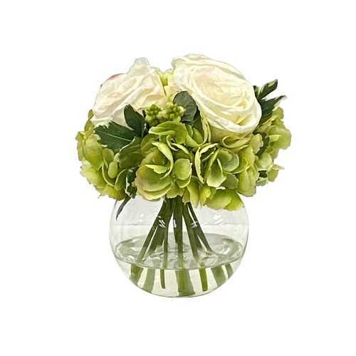 Faux Rose Hydrangea in Glass Vase - Williams Sonoma