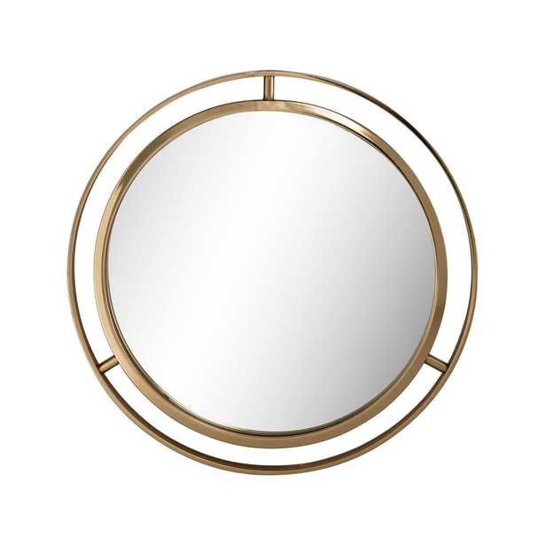 Glitzhome 24 in. D Deluxe Round Gold Mirror - Home Depot