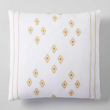 Belgian Linen Ladder Stripe Embroidery Euro Sham, White + Dark Horseradish - West Elm