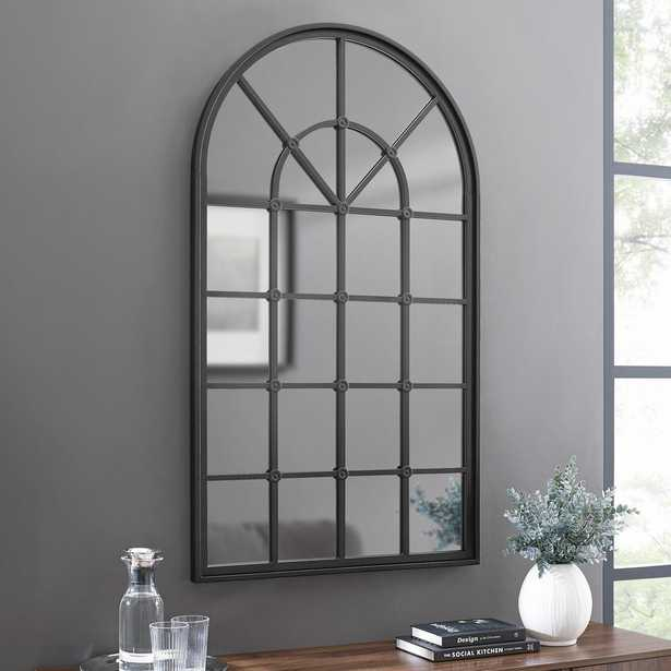 """Welwick Designs 50"""" Arched Windowpane Mirror - Black - Home Depot"""