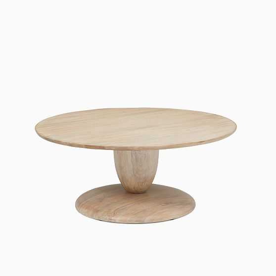 Winona Collection Cerused White 36 Inch Round Pedestal Coffee Table - West Elm