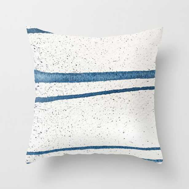 """Parallel Universe [horizontal]: A Pretty, Minimal, Abstract Piece In Lines Of Vibrant Blue And White Couch Throw Pillow by Alyssa Hamilton Art - Cover (20"""" x 20"""") with pillow insert - Outdoor Pillow - Society6"""