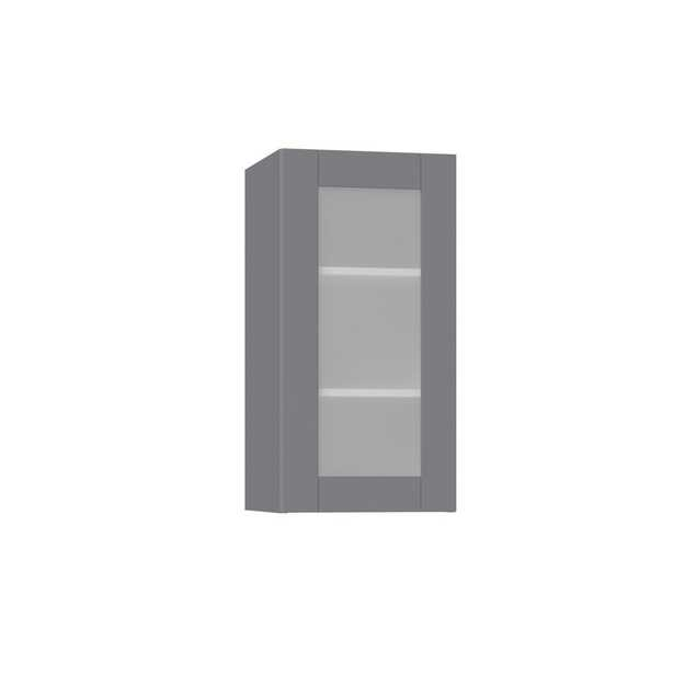 J COLLECTION Shaker Assembled 15 in. x 30 in. x 14 in. Wall Cabinet with Frosted Glass Door in Gray - Home Depot