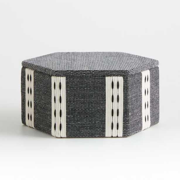 Koba Black/White Woven Hexagon Box - Crate and Barrel