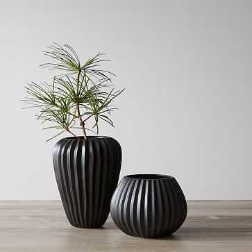 Sanibel Textured Black, Small and Wide Vase, Set of 2 - West Elm