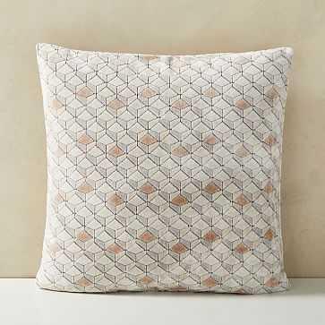 """Tricolor Diamond Cut Velvet Pillow Cover, 20""""x20"""", Dusty Blush - West Elm"""