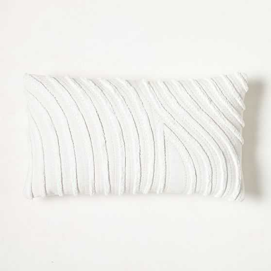 """Textured Waves Pillow Cover, 12""""x21"""", White - West Elm"""
