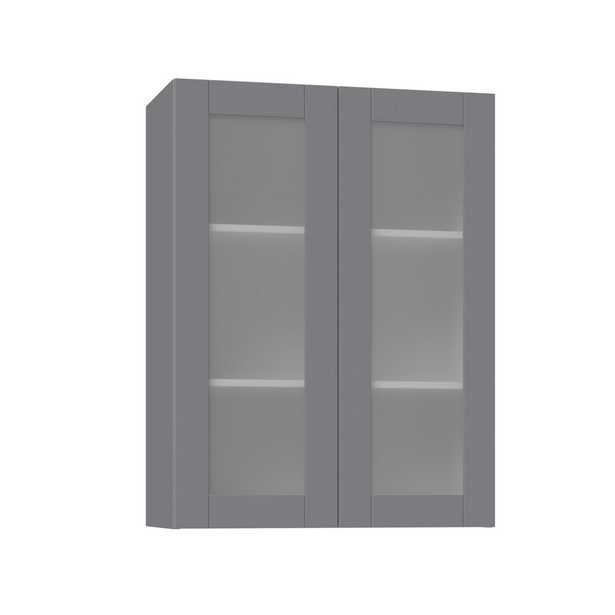 J COLLECTION Shaker Assembled 30x40x14 in. Wall Cabinet with Frosted Glass Doors in Gray - Home Depot