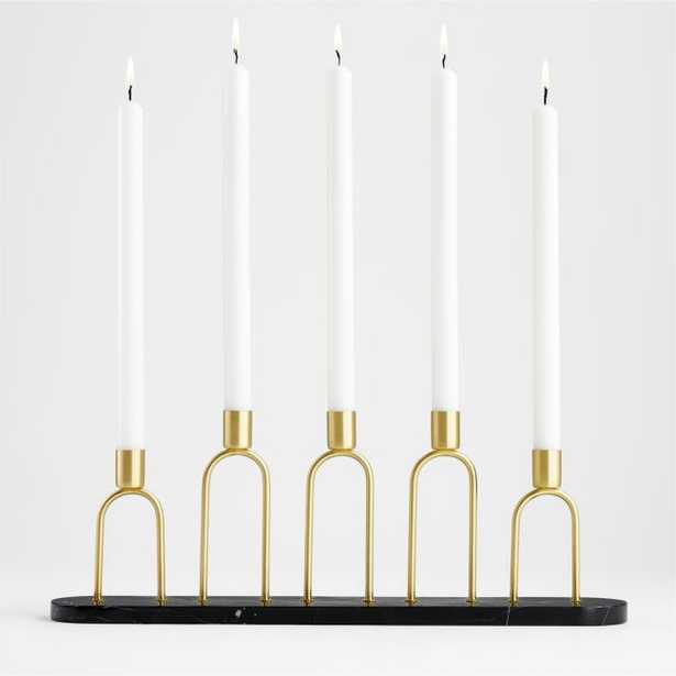 Cassia Marble and Brass Taper Candle Centerpiece - Crate and Barrel