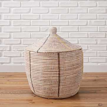 Mbare Graphic Basket, White, Oversized - West Elm