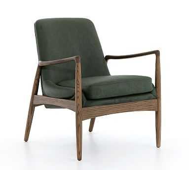 Fairview Armchair, Eden Sage Leather/Toasted Oak - Pottery Barn