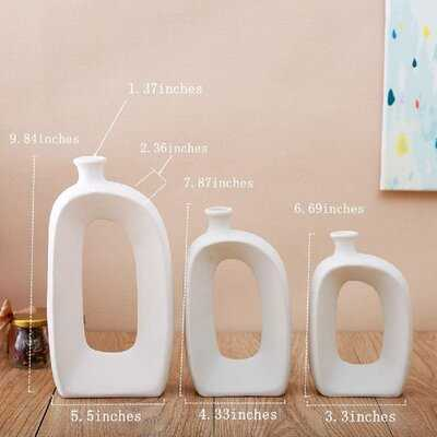White Ceramic Vase - 3 Set Vases. Matte Design - Modern Vase Decoration. Perfect Home Decoration Vase - Wayfair