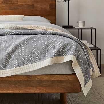 Organic Double Cloth Arrow Blanket, Full/Queen, Midnight - West Elm