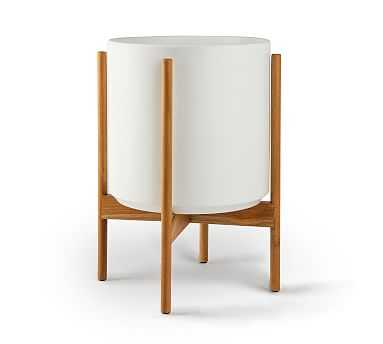 Modern Ceramic Planters with Wooden Stand, White - Medium - Pottery Barn