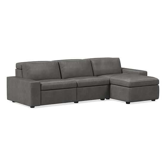 """Enzo 8"""" Arm Storage Chaise Sectional, Ludlow Leather, Gray Smoke, Concealed Support - West Elm"""