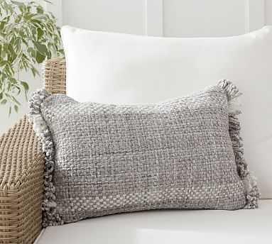 """Ixora Indoor/Outdoor Lumbar Pillow , 14 x 20"""", Gray Multi - Pottery Barn"""