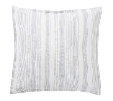 Hawthorn Stripe Cotton Sham, Euro, Blue - Pottery Barn
