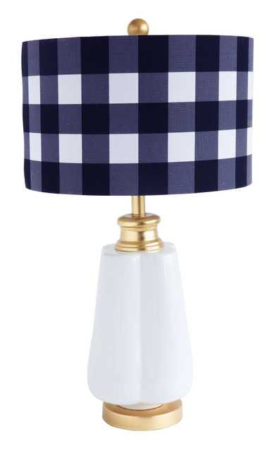 Ceramic Table Lamp with Gold Accents & Blue/White Gingham Linen Shade - Nomad Home