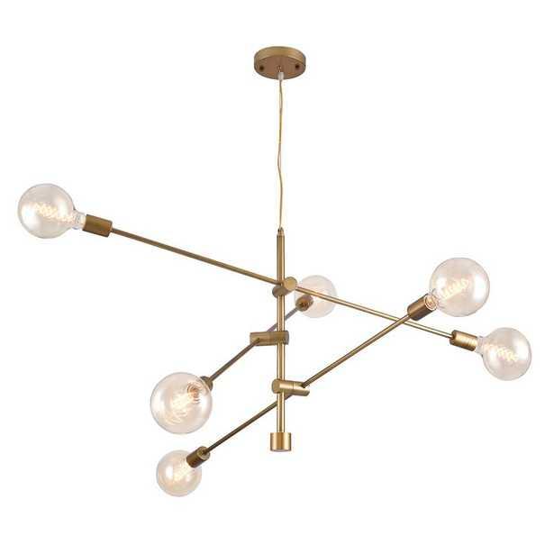 Warehouse of Tiffany Rasmo Satin Gold 6-Light Chandelier - Home Depot