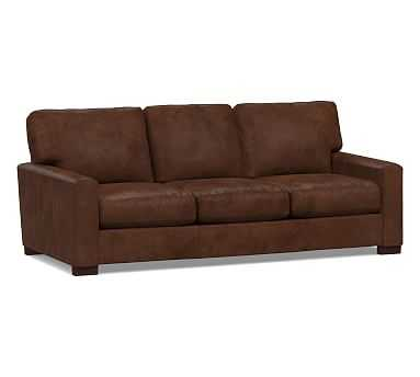 """Turner Square Arm Leather Sofa 3-Seater 85.5"""", Down Blend Wrapped Cushions, Vegan Java - Pottery Barn"""