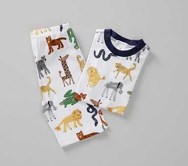 Silly Safari Short Sleeve Pajama, 2T, Multi - Pottery Barn Kids