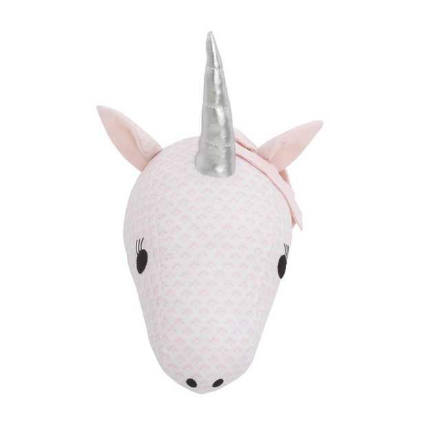 NoJo Pink and White Unicorn Plush Head Wall Decor - Home Depot