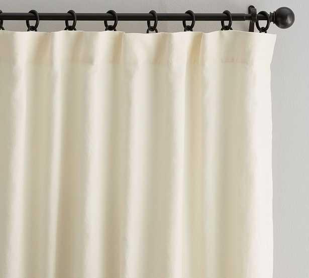 "PB OPEN BOX Classic Belgian Flax Linen Rod Pocket Curtain, Cotton Lining, 50 x 96"", Ivory - Pottery Barn"