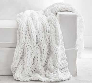 """Colossal Handknit Throw, 44 x 56"""", White - Pottery Barn"""