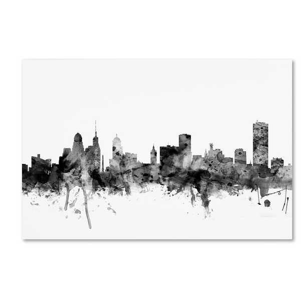 Trademark Fine Art 30 in. x 47 in. Buffalo New York Skyline B&W by Michael Tompsett, Multi - Home Depot
