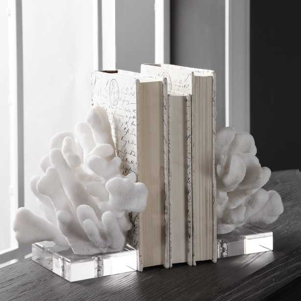 Charbel White Bookends, Set/2 - Hudsonhill Foundry