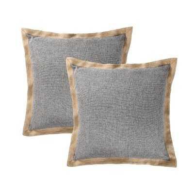 Set Of 2 Throw Pillow Covers Farmhouse Burlap Trimmed Cushion Cover - Wayfair