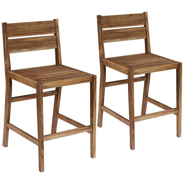"""Nova 24"""" Natural Wood Outdoor Counter Stools Set of 2 - Style # 78X16 - Lamps Plus"""