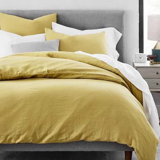 Belgian Flax Linen Duvet Cover, Full/Queen + Standard Shams, Sand Yellow - West Elm