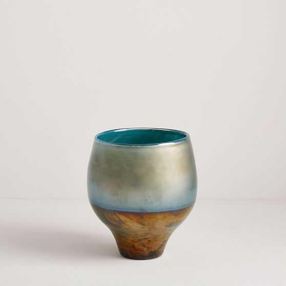 Pearlescent Vase, Round Vase, Blue, Set of 2 - West Elm
