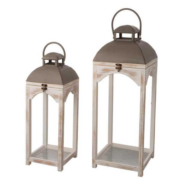 Glitzhome Set of 2 Mondern Farmhouse Wooden Lantern, Multi - Home Depot