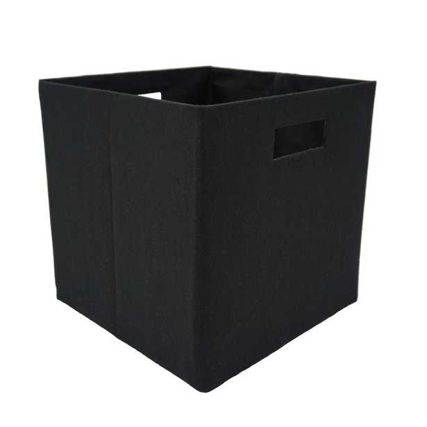 Handcrafted 4 Home 12 in. L x 12 in. W x 12 in. H Black Fabric Foldable Storage Cube (Set of 2) - Home Depot