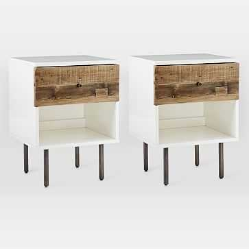 Reclaimed Wood + Lacquer Storage Nightstand, Reclaimed Pine, Gray Wash, Set of 2 - West Elm