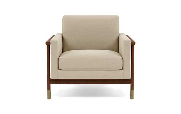 Jason Wu Accent Chair with Beige Oatmeal Fabric and Oiled Walnut with Brass Cap legs - Interior Define
