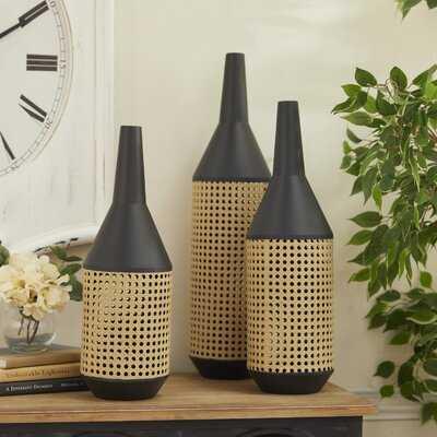 3 Piece Brotherton Brown/Gray Wood Floor Vase Set - Wayfair
