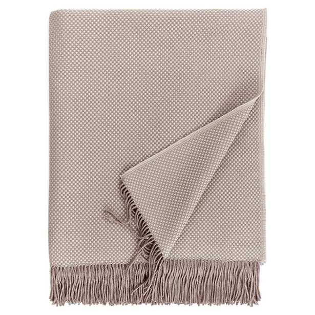Sferra Modern Bristol Fringed Throw - Taupe - Kathy Kuo Home