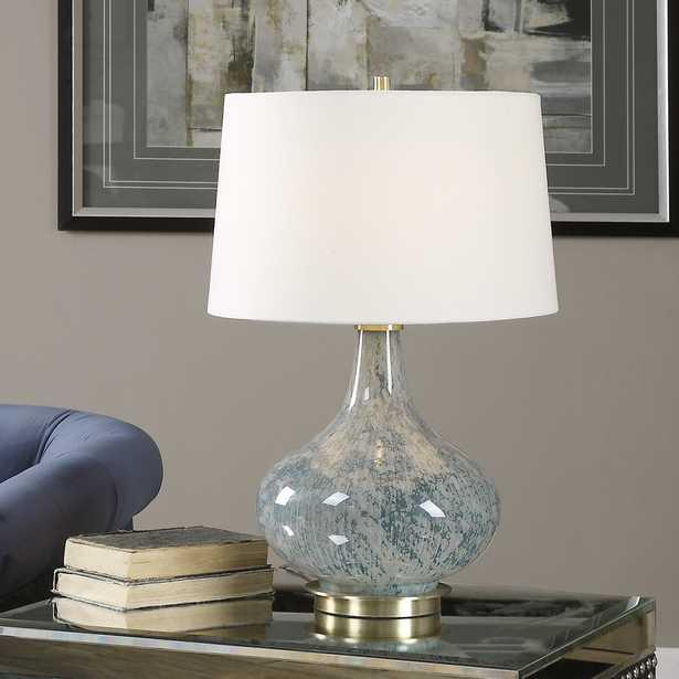 Celinda Blue Gray Glass Lamp - Hudsonhill Foundry