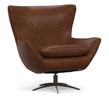 Wells Leather Tight Back Swivel Armchair Bronze Base, Polyester Wrapped Cushions, Statesville Molasses - Pottery Barn
