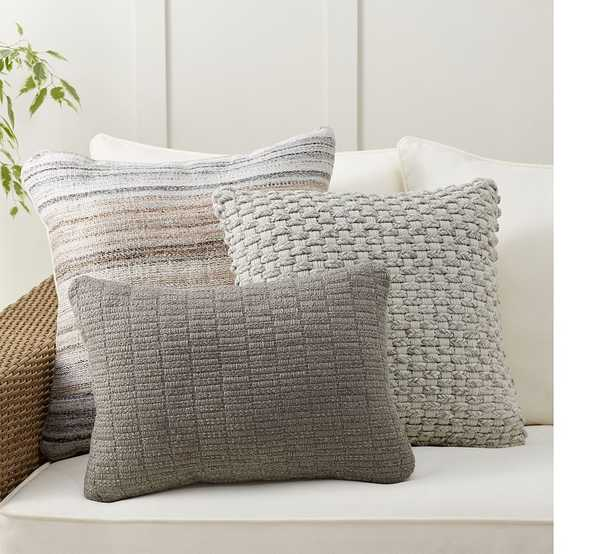 Sun-Washed Stripes Gray Indoor/Outdoor Pillow Set - Pottery Barn