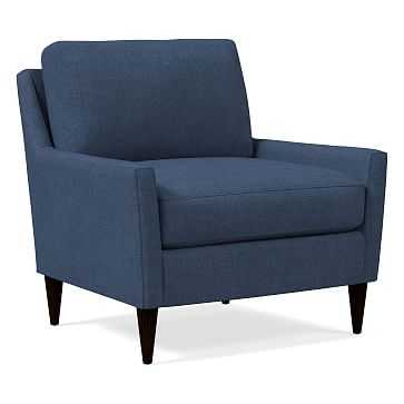 Everett Chair, Performance Yarn Dyed Linen Weave, French Blue, Chocolate - West Elm