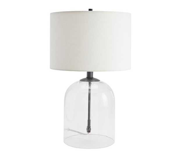 Aria Dome Table Lamp with Small Straight Sided Gallery Shade, Bronze/White - Pottery Barn