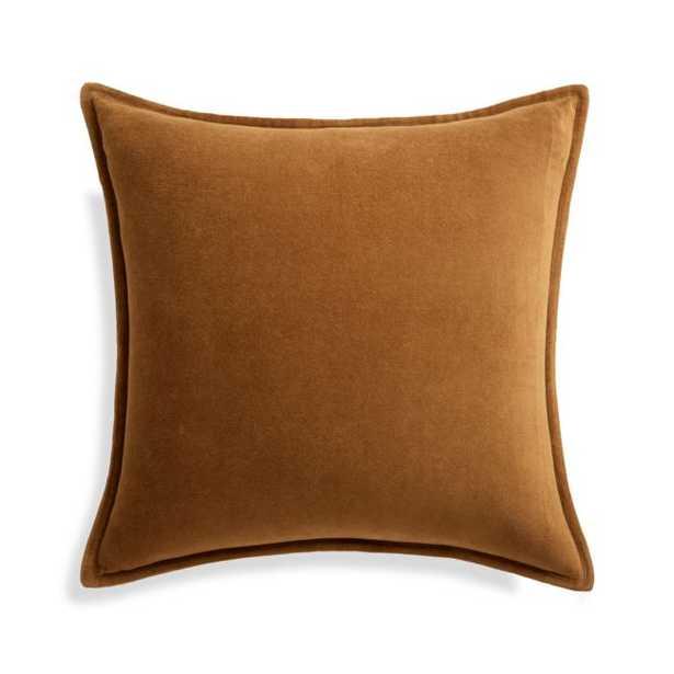"Brenner Velvet Cognac Pillow Cover 20"" - Crate and Barrel"