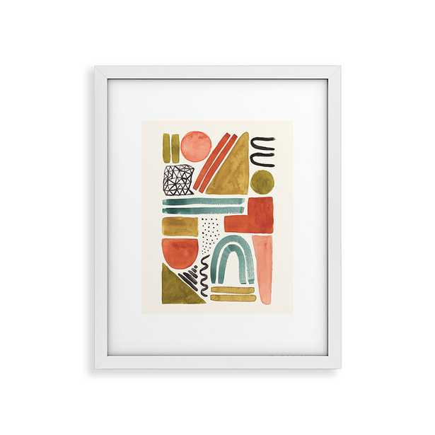 """Abstract Watercolor Shapes by Pauline Stanley - Modern Framed Art Print White 16"""" x 20"""" - Wander Print Co."""