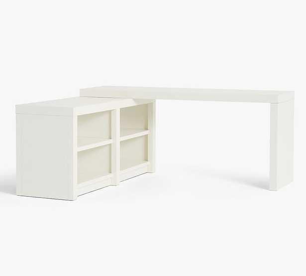 Dillon Peninsula Desk with Bookcase, Montauk White - Pottery Barn